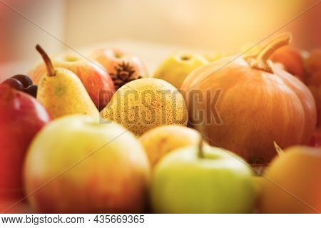 Sweet Organic Pear Like Honey, Selective Focus On Pear, Autummn Harvest On Table Closeup