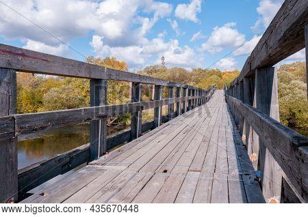 Wooden Bridge Close-up On An Autumn Day