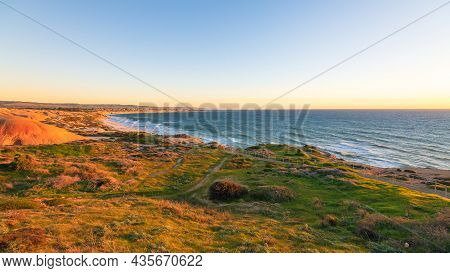 Maslin Beach Coastline At Sunset During Winter Season Viewed From The Blanche Point Lookout, South A
