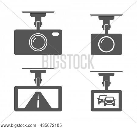 dash cam camera device for car icon isolated on white background