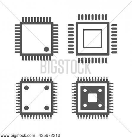 micro chip microprocessor cpu icon set isolated on white background