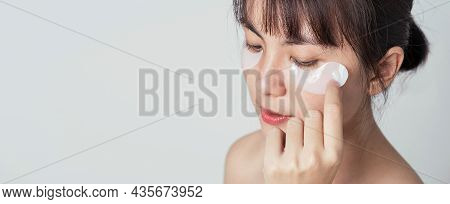 Selective Focus, Patches Collagen Under Eyes On Fresh Clean Skin Of Asian Woman On Banner. Beauty An