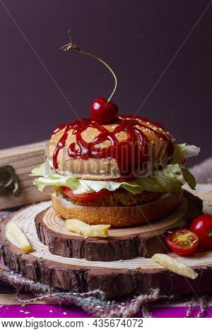 Juicy American Burger, Hamburger Or Cheeseburger With One Chicken Patties, With Sauce. Concept Of Am