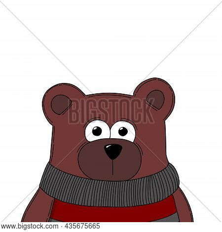 Teddy Bear Cartoon Illustration Isolated On White Background, Bear Head Illustration
