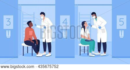 Examination For Virus Flat Color Vector Illustration. Clinical Diagnostics. Taking Samples. Patients