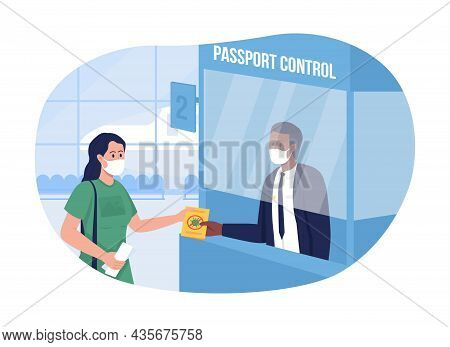 Safe Passport Control At Airport 2d Vector Isolated Illustration. Woman Shows Plane Ticket. People I