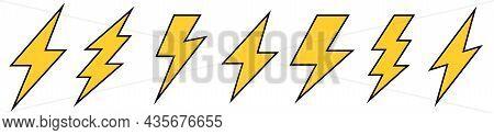 Lightning Bolt Icons Set. Flat Energy And Thunder Symbol. Vintage Flash Symbol, Thunderbolt. Lightni