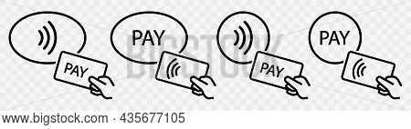 Contactless Payment Vector Icon Set. Bank Card With Hand Contactless Pay Icons Collection. Outline P