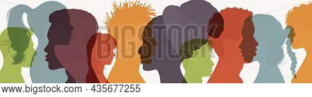 Abstract Silhouette Head Face Of Diverse People In Profile. Friendship Between Multiethnic And Multi