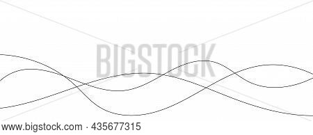 Thin Line Wavy Abstract Vector Background. Curve Wave Seamless Pattern. Line Art Striped Graphic Tem