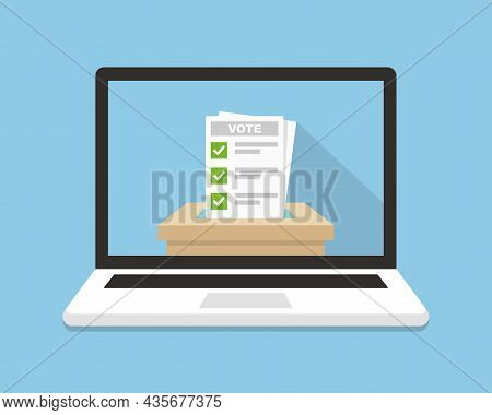 Voting Background. Vote Ballot Going Into A Box In Laptop Screen. Online, Electronic Voting Concept.