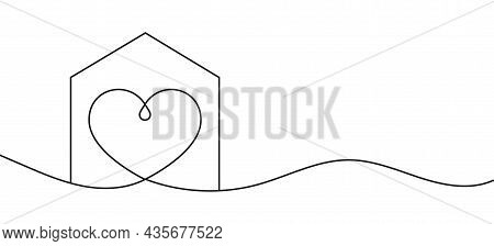 Home With Heart Line Art Drawing Vector Illustration. Continuous One Line Drawing House With Heart S