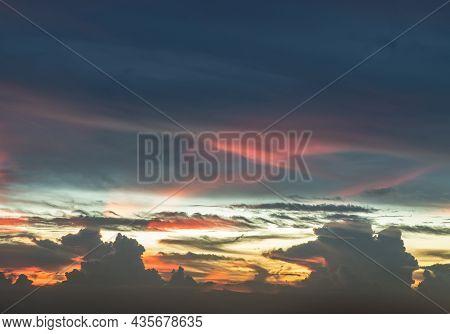 Fantastic Colorful Sunset Sky. Dramatic And Wonderful Cloud On Twilight, Majestic Dark Blue Sky Natu