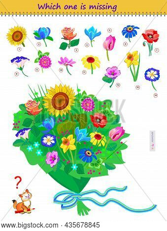 Logic Puzzle Game For Children And Adults. Which One Of Flowers Is Missing In The Bouquet? Memory Ex