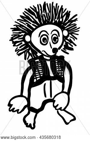 Black And White Vector Sketch Of A Funny Hedgehog In Pants