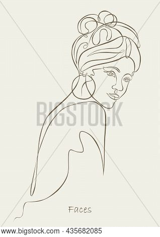 Woman Face One Line Drawing. Continuous Line. Sensual Love