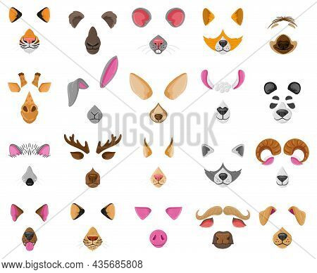 Cartoon Selfie Or Video Chat Animal Faces Masks. Raccoon, Dog, Zebra And Goat Funny Ears And Noses V