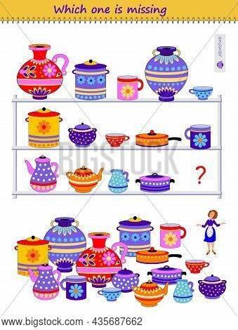 Logic Puzzle Game For Children And Adults. Which Cookware Is Missing In Kitchen Shelf? Find The Corr