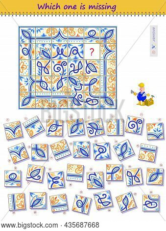 Logic Puzzle Game For Children And Adults. Help The Worker Find The Correct Place For All Tiles. Whi