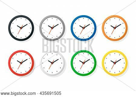Vector Color Flat Wall Office Clock Icon Set Isolated. Different Colors. White Dial. Design Template