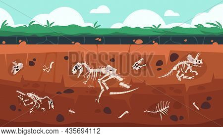 Underground Fossil. Cartoon Earth Ground Layers With Dinosaur Skeleton And Skull. Extinct Reptile Bo