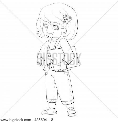 Sketch, Cute Girl In Jeans And With A Bob Haircut Holding A Book Under Her Armpit, Coloring Book, Ca
