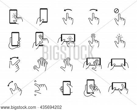Phone Gestures Icons. Hand Swiping And Touching Smartphone Screen. Mobile Display Tap And Click. Dev