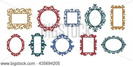 Trendy Doodle Frames. Contemporary Decorative Curly Framing Collection For Mirrors And Quotes. Hand