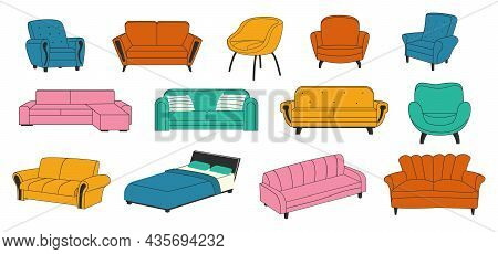 Trendy Furniture. Doodle Comfort Couch. House Armchair And Modern Luxury Sofa. Comfortable Bed With