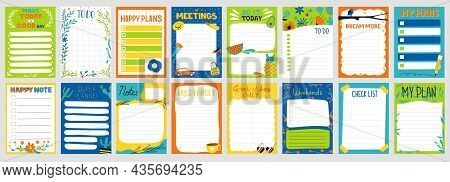 Cute Planner. Notepad To Do List. Paper Page With Colorful Decoration. Schedule Card And Memo Mockup