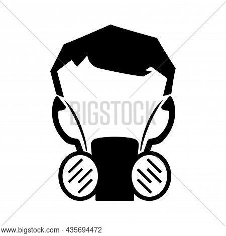 Half Face Mask Respirator Black Icon ,vector Illustration, Isolate On White Background Label. Eps10