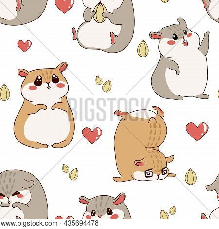 Hamster Pattern. Cartoon Seamless Texture With Funny Fluffy Pet. Home Happy Animal Print For Kids Wa