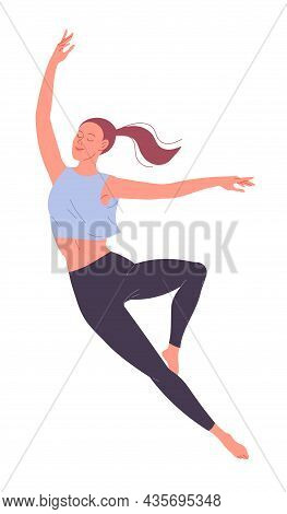 A Young Dancing Woman Practicing And Passionately Dances