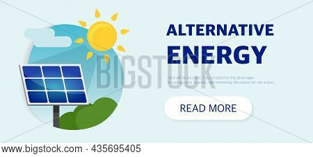 Clean Alternative Energy From Renewable Solar And Wind Sources. Wind Turbines And Solar Panels. The
