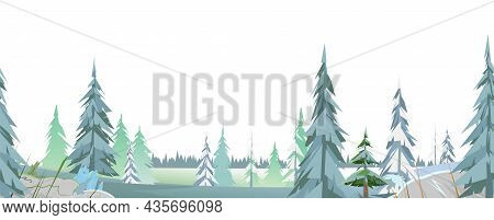 Winter Coniferous Forest Panorama. Pine And Trees On Glade. Isolated On White Background. Seamless H