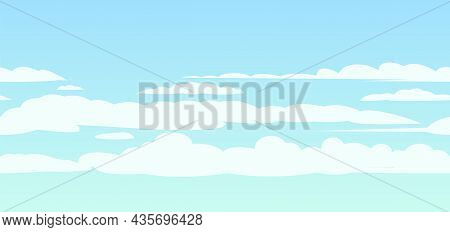 Sky Clouds Background. Illustration In Cartoon Style Flat Design. Heavenly Atmosphere. Vector