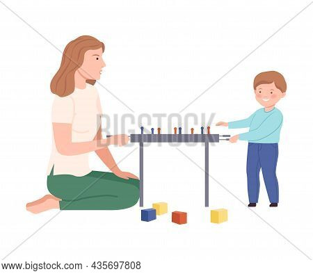 Mom And Son Playing Soccer Board Game Together. Family Spending Time Together And Gaming Cartoon Vec