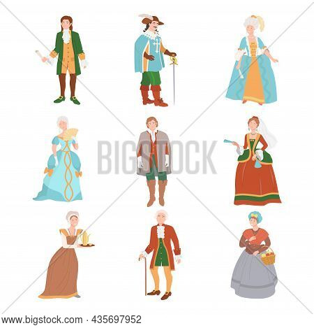 People In Historical Costumes Of The 18th Century. Rococo People Fashion Cartoon Vector Illustration