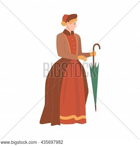 Woman In Historical Costume. Victorian People Fashion Cartoon Vector Illustration