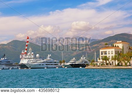 Tivat , Montenegro - October 3 2021:  View Of Yacht Marina Of Porto Montenegro In Tivat City. Monten