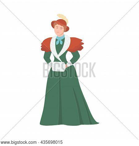 Woman In Historical Costume Of 19th Century. Victorian Fashion Cartoon Vector Illustration