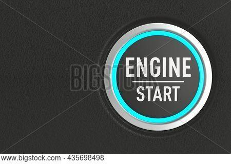 push button with text start engine on dark background. 3D illustration