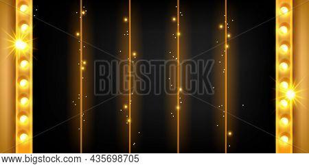 Casino 5-reel Slot Game Background, Vector Golden Jackpot Ui Menu Panel, Vegas Machine Minimal Banne