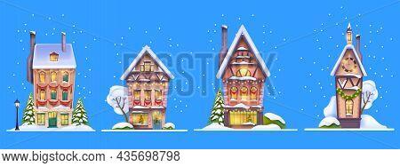 Winter Christmas House Set, Vector Snow X-mas Village Street Facade Scene, Small European Town Build