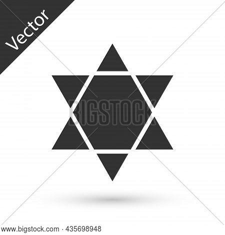 Grey Star Of David Icon Isolated On White Background. Jewish Religion Symbol. Symbol Of Israel. Vect