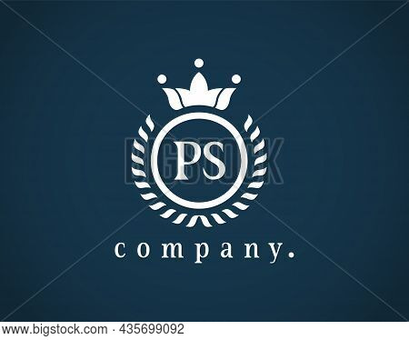 Creative Letter Ps, P And S Graceful Logo. Elegant Emblem And Beautiful Calligraphy. The Hexagonal V