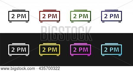 Set Digital Alarm Clock Icon Isolated On Black And White Background. Electronic Watch Alarm Clock. T