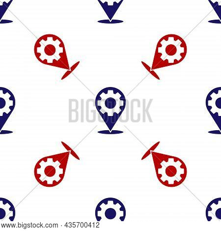 Blue And Red Car Service Icon Isolated Seamless Pattern On White Background. Auto Mechanic Service.