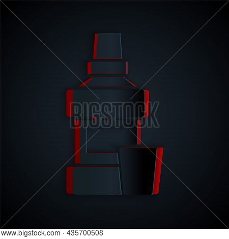 Paper Cut Mouthwash Plastic Bottle And Glass Icon Isolated On Black Background. Liquid For Rinsing M
