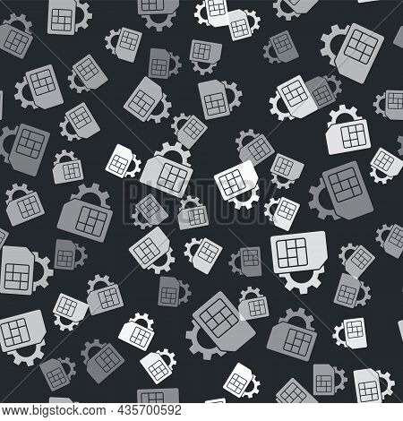 Grey Sim Card Setting Icon Isolated Seamless Pattern On Black Background. Mobile Cellular Phone Sim